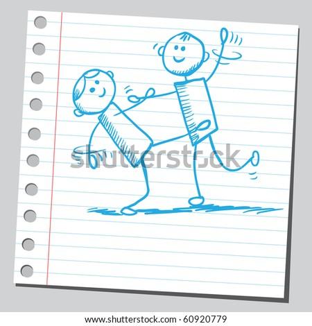 Hand drawn dancers - stock vector
