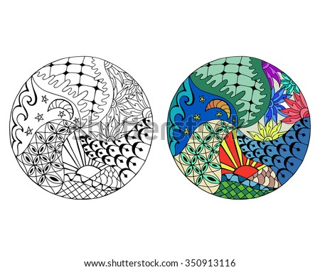 Hand drawn day and night circle mandalas for anti stress coloring page. Pattern for coloring book. Made by trace from sketch. Illustration in zentangle style. Monochrome and color variants. - stock vector