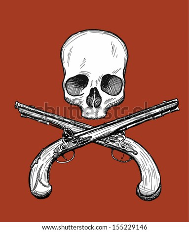 Skull with two pistols stock images royalty free images vectors hand drawn dead head with two crossed flintlock pistols jolly roger style vector drawing voltagebd Gallery