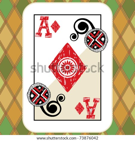 hand drawn deck of cards, doodle ace of diamonds - stock vector