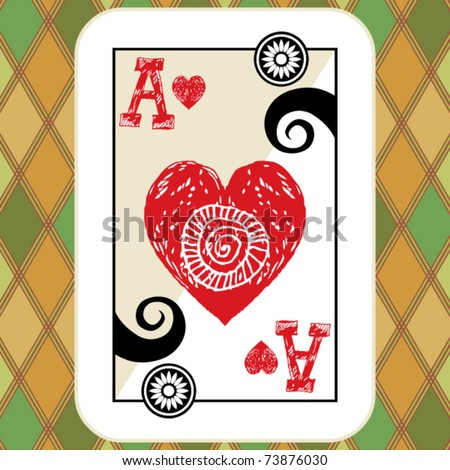 hand drawn deck of cards, doodle ace of hearts - stock vector