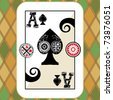 hand drawn deck of cards, doodle ace of spades - stock photo