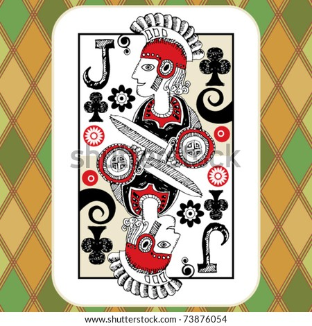 hand drawn deck of cards, doodle jack of clubs - stock vector