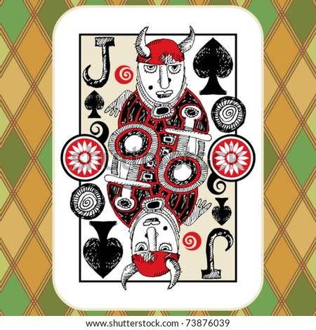 hand drawn deck of cards, doodle jack of spades - stock vector
