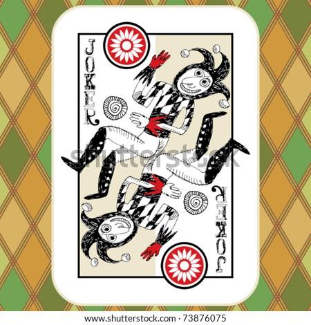 hand drawn deck of cards, doodle joker - stock vector