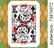 hand drawn deck of cards, doodle king of clubs - stock photo