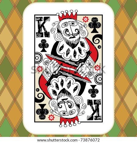 hand drawn deck of cards, doodle king of clubs - stock vector