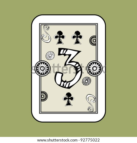 hand drawn deck of cards, doodle 3 of clubs - stock vector