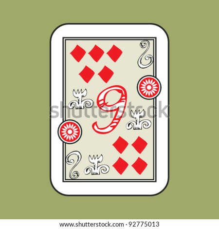 hand drawn deck of cards, doodle 9 of diamonds - stock vector