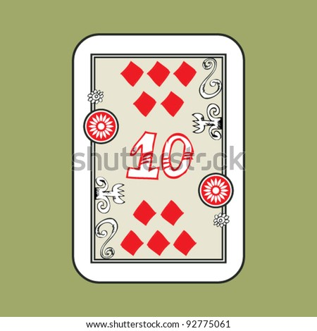 hand drawn deck of cards, doodle 10 of diamonds - stock vector
