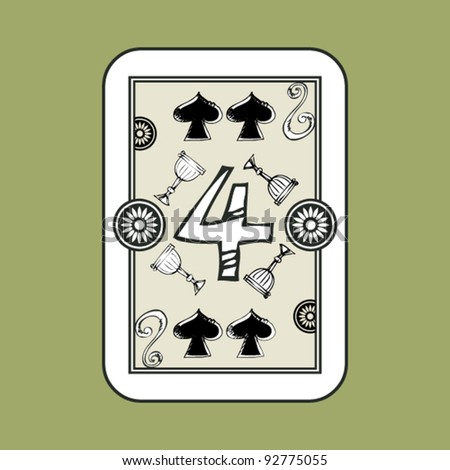hand drawn deck of cards, doodle 4 of spades - stock vector