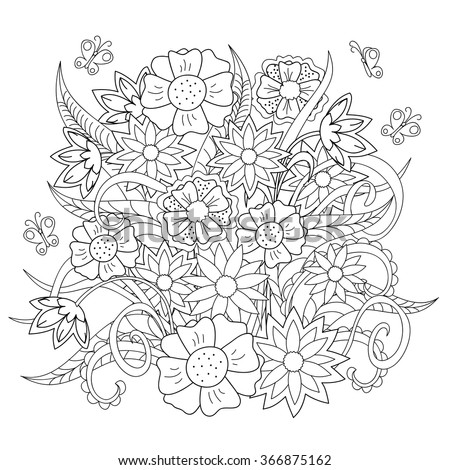 Hand drawn decorated image with doodle flowers and butterfly.  Image for adult and children coloring pages, books, for decorate dishes, cups, porcelain, ceramics, walls. Vector illustration - eps 10. - stock vector