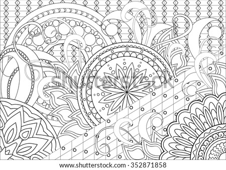 Hand Drawn Decorated Image Doodle Flowers Stock Vector