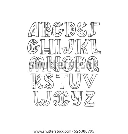 Hand Drawn Decorative Alphabet In Doodle Creative Stile Decorated With Dots And Stripes Vector