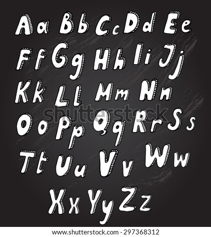 Hand drawn decorative alphabet letters, design elements