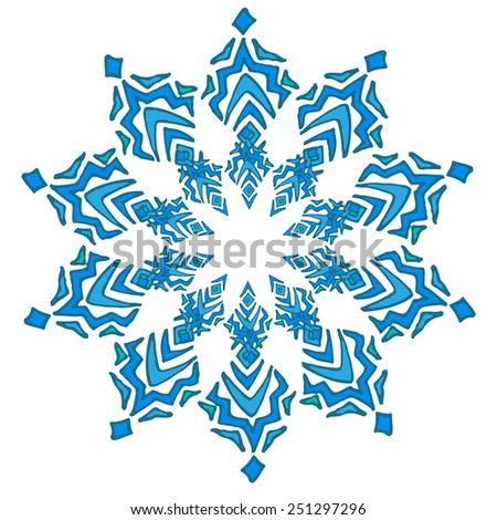 Hand drawn decorative colorful snowflake. Pattern element. Vector illustration. - stock vector