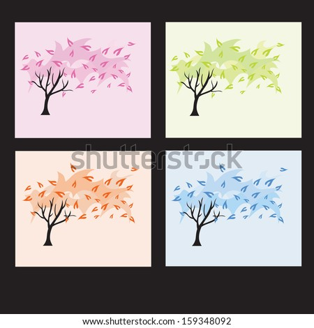 hand drawn decorative four seasons trees, design elements
