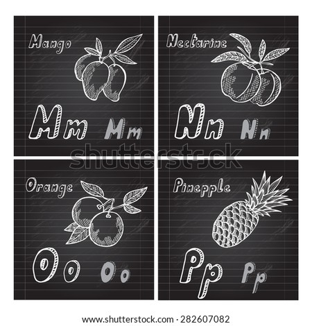 Hand drawn decorative fruits alphabet, design elements. Can be used for cards, invitations, gift wrap, print, scrapbooking. Education school theme. Chalkboard background - stock vector