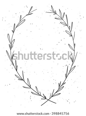 Hand drawn decorative laurel wreath. Vintage design elements. Perfect for invitations, greeting cards, certificates, quotes and more. Vector illustration - stock vector