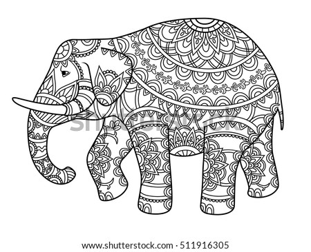 Hand drawn decorative outline elephant indian stock vector for Indian elephant coloring pages printable