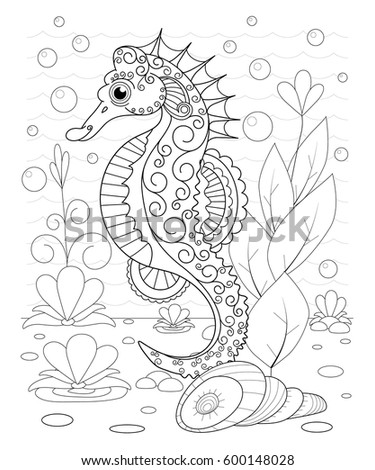 hand drawn decorative sea horse in the waves and with seaweed stress coloring page with high