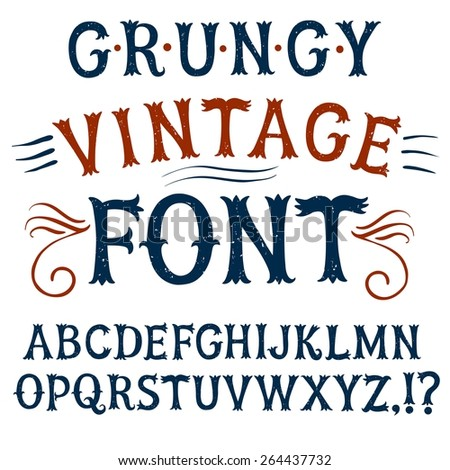Hand drawn  decorative textured vintage vector ABC letters.Grungy font for your design.  - stock vector