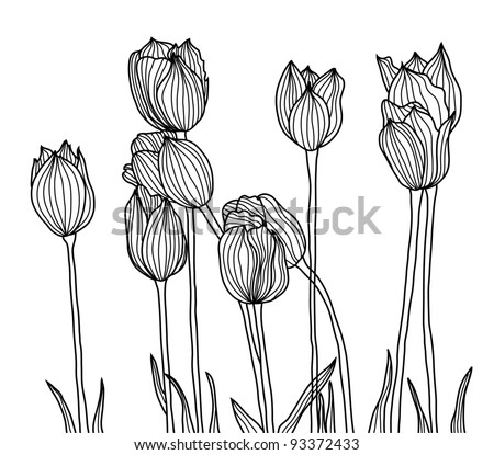 hand drawn decorative tulips for your design - stock vector