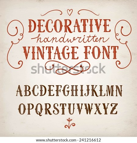 Hand drawn decorative vintage vector ABC letters on old paper background.Nice font for your design.  - stock vector