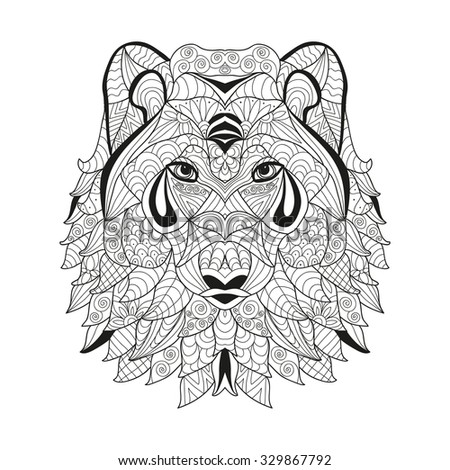 Hand drawn decorative wolf , design element. Can be used for invitations, greeting cards, scrapbooking, print, gift wrap, manufacturing. Animal theme