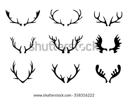 Hand Drawn Deer Antlers Vectors. - stock vector