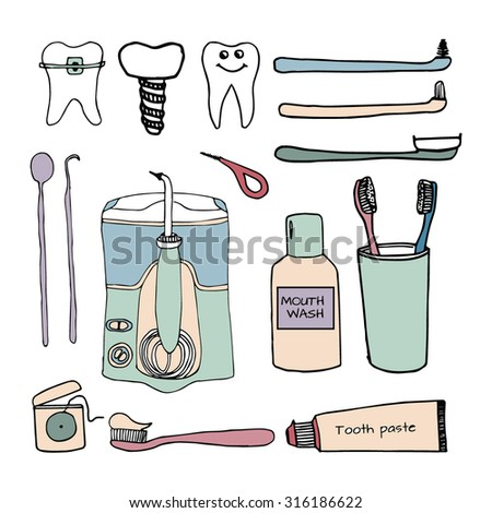 Hand drawn dental and orthodontic vector set:tooth with braces, implant, healthy tooth, irrigator, tooth brushes, tooth paste, mouth wash, interdental and orthodontic brush, interspace, dental floss.