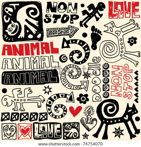hand drawn design elements, crazy doodle set - stock vector