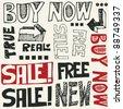 hand drawn design elements, doodle sale - stock vector