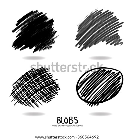 hand drawn design elements, set of blobs or doodle splotches of black background textures, collection of black paint marker illustrations for use in graphic art designs, top two best on pale colors - stock vector