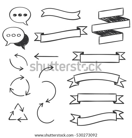 Hand drawn design  elements.Speech bubbles, ribbon banners, arrows. Vector illustration.