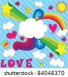Hand drawn design with cloud-banner. EPS 8 CMYK with global colors vector illustration. - stock vector