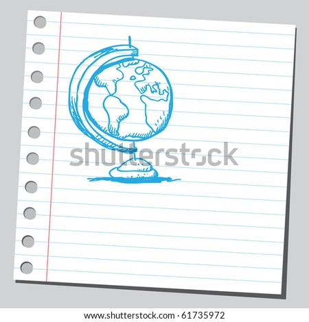 Hand drawn desk globe - stock vector