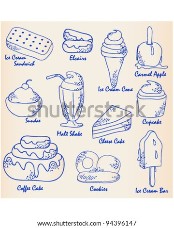 Hand Drawn Dessert Icon Set               vector is eps10 - stock vector