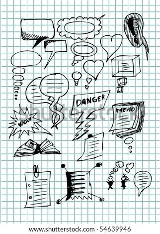 hand drawn dialog icons - stock vector