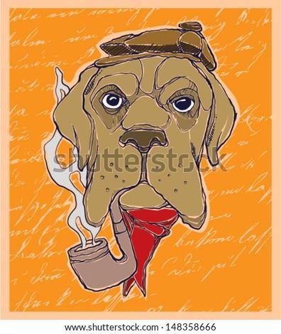 hand drawn dog - stock vector