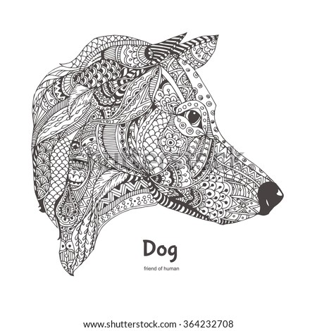 Handdrawn Dog Side View Ethnic Floral Stock Vector