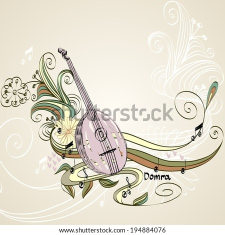 Hand drawn domra on a light background. - stock vector