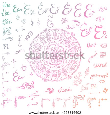 Hand Drawn Doodle Ampersands, Curves, Book Corners, Dividers Design Elements on black chalkboard and Grunge Hand-Drawn Abstract Henna Mehndi Flower - stock vector