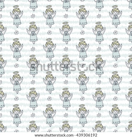 Hand Drawn Doodle Angels and Stars Seamless pattern. Cute Christmas Blue background vector illustration - stock vector