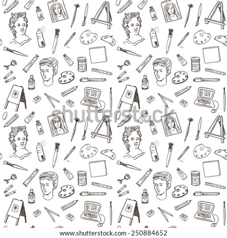 Hand drawn doodle artist tools set seamless pattern. - stock vector