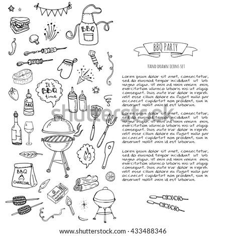 Hand drawn doodle BBQ party icons set. Vector illustration summer barbecue symbols collection Cartoon various meals, drinks, food ingredients and decoration elements on white background Sketch