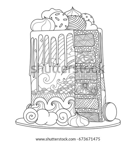 Hand Drawn Doodle Cake Coloring Book Stock Vector 673671475 ...