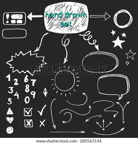 Hand drawn doodle check marks, arrows and speech bubbles, isolated on chalkboard background. - stock vector