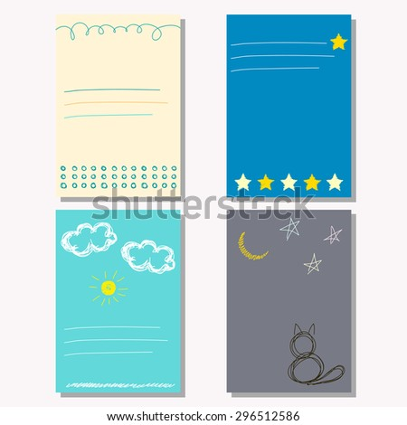 Hand drawn doodle childish exercise book background. Book collection. Scribbled shapes. Card, book, exercise book, copy book, diary, journal, brochures, note book, pocketbook, album, sketch book cover - stock vector