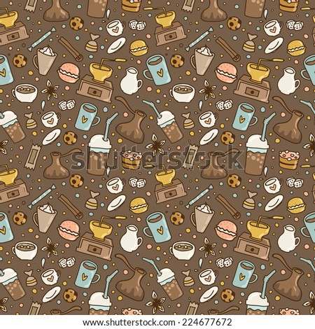 Hand drawn doodle coffee seamless pattern. Vector illustration for fabric, textile, wrapping paper or wallpaper background. - stock vector